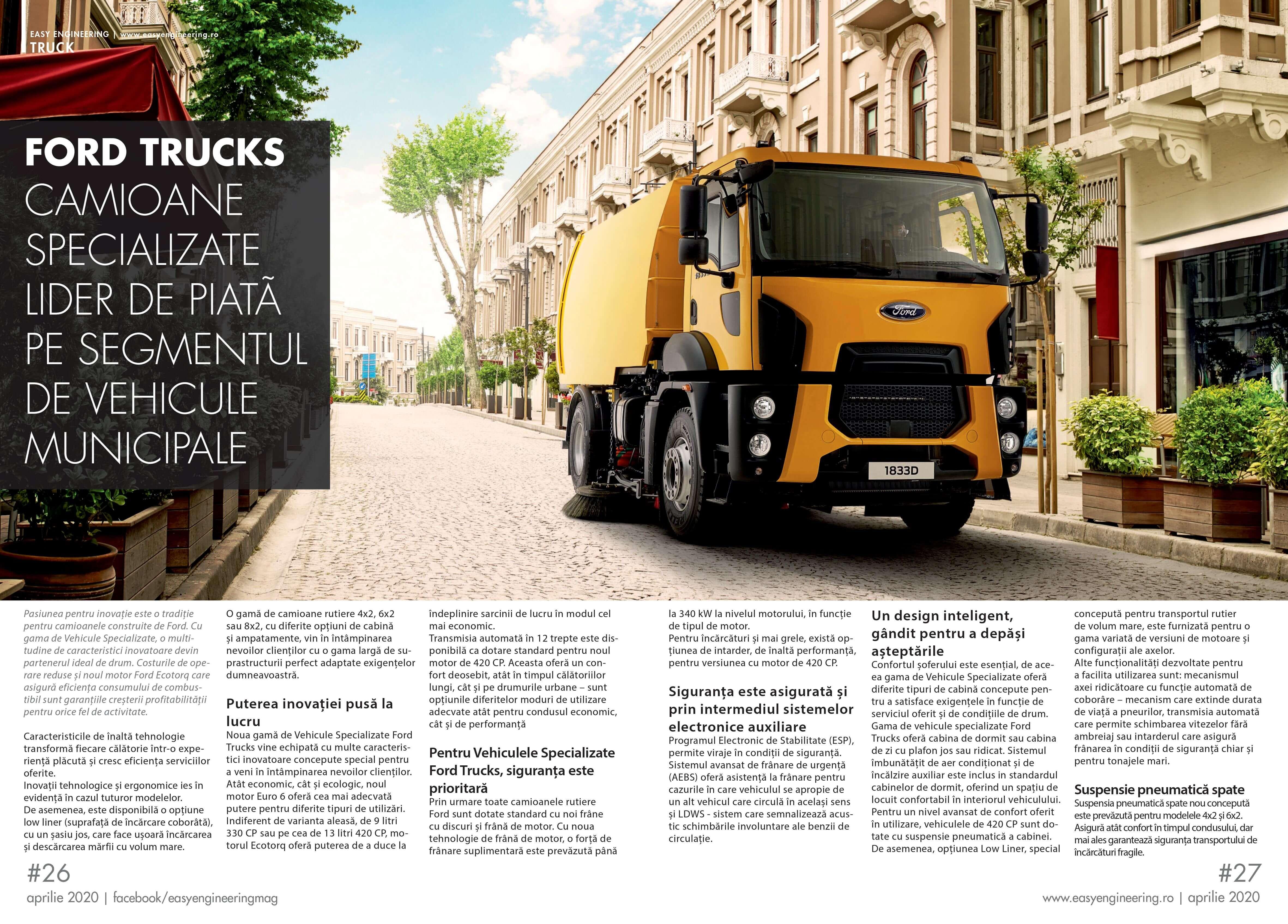 PRESA - EASY ENGINEERING -  Ford Trucks, camioane specializate, lider de piata pe segmentul de vehicule municipale