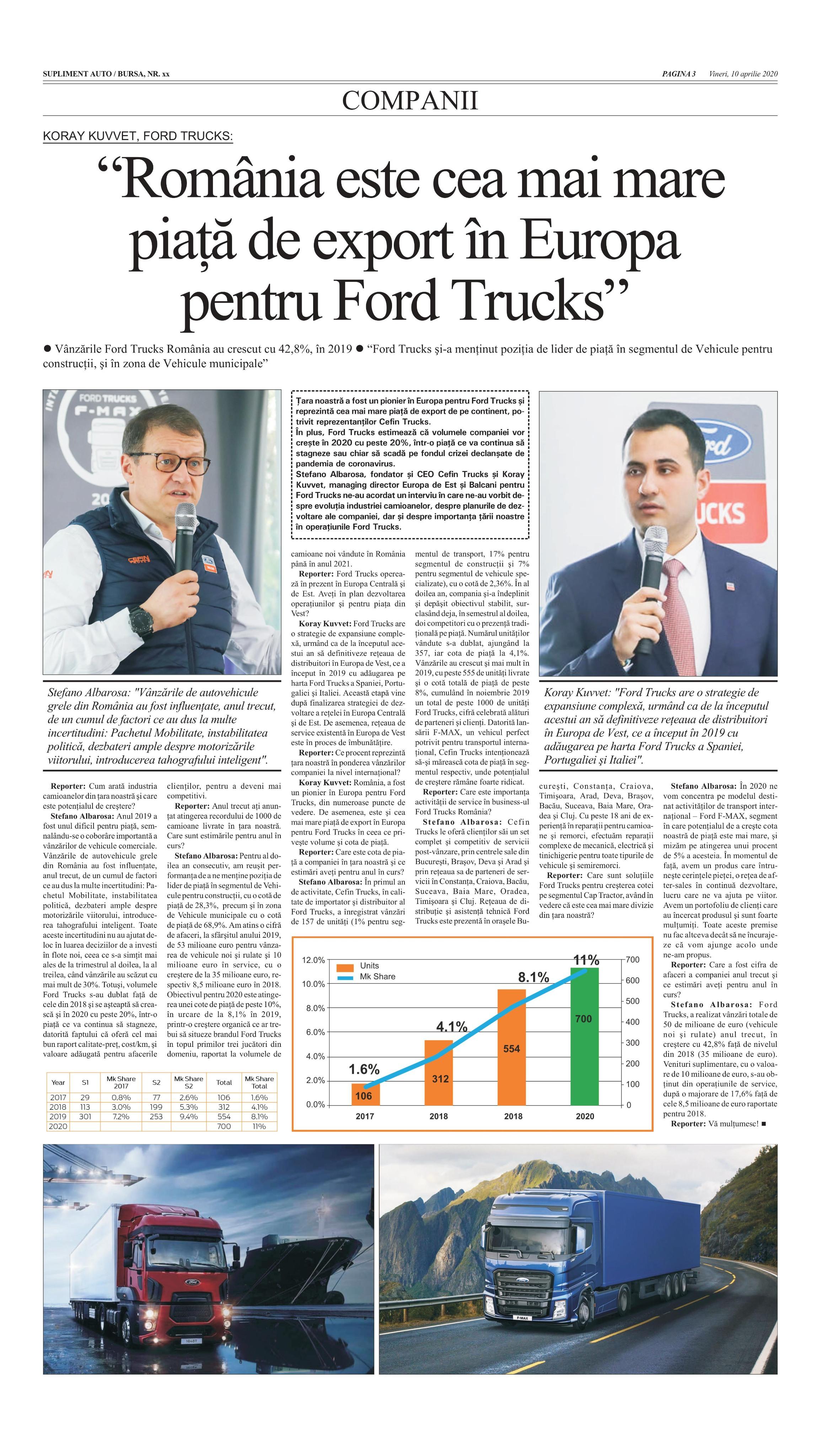 PRESA - BURSA - Romania este cea mai mare piata de export in Europa pentru Ford Trucks
